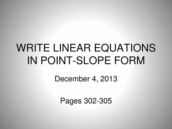 write linear equations in point slope form n.