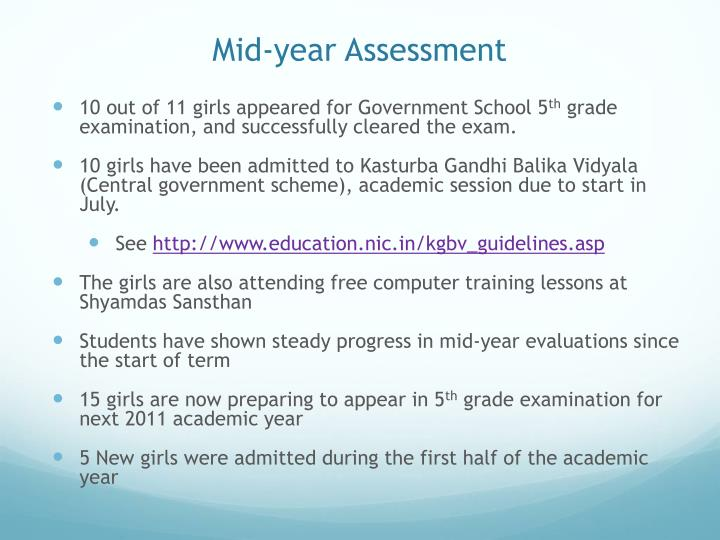 Mid-year Assessment