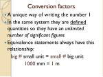 conversion factors1