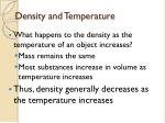 density and temperature