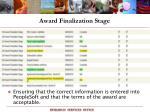 award finalization stage