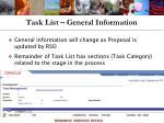 task list general information