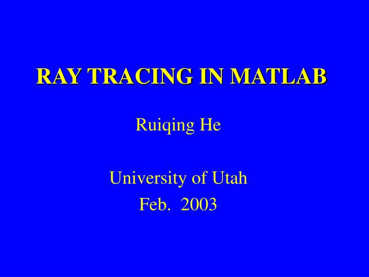 ray tracing in matlab n.