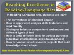 reaching excellence in reading language arts