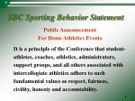 sbc sporting behavior statement