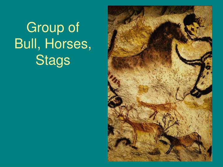 Group of Bull, Horses, Stags