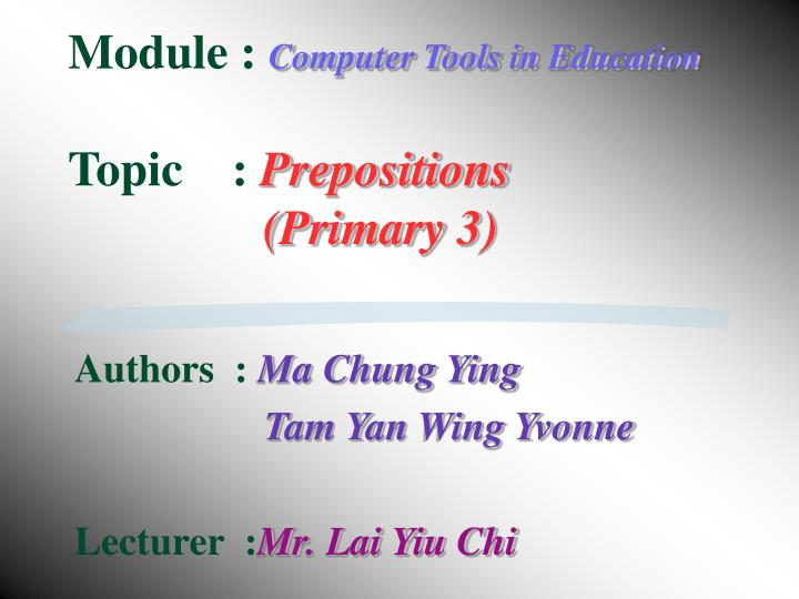 PPT - Module : Computer Tools in Education Topic