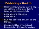 establishing a need 2