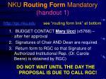 nku routing form mandatory handout 1