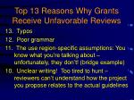 top 13 reasons why grants receive unfavorable reviews