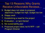 top 13 reasons why grants receive unfavorable reviews1