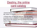 destiny the online card catalog