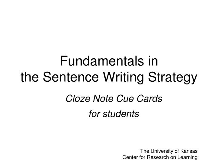 fundamentals in the sentence writing strategy n.