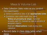 mass volume lab2