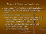 mass volume post lab