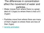 the differences in concentration affect the movement of water and particles