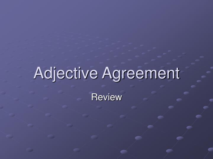 adjective agreement n.