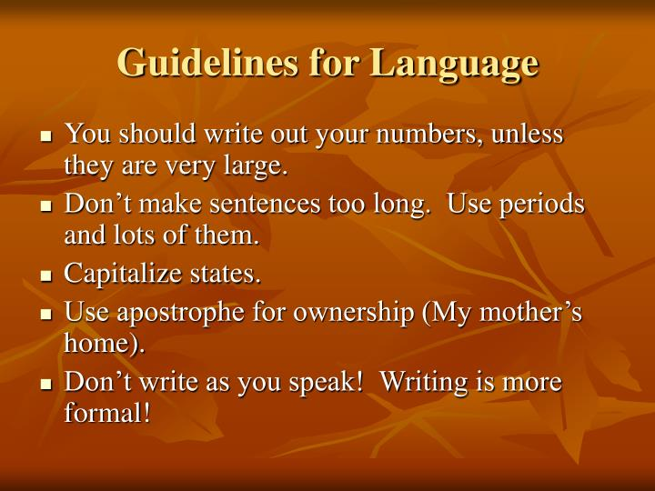 guidelines for language n.