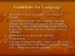 guidelines for language2