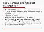 lot 2 ranking and contract management
