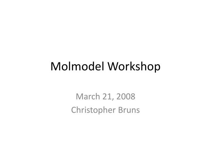molmodel workshop n.