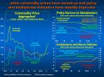 while commodity prices have moved up and policy and institutional indicators have steadily improved