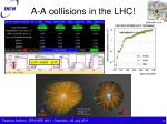 a a collisions in the lhc
