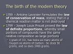 the birth of the modern theory