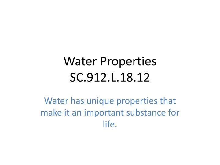 water properties sc 912 l 18 12 n.