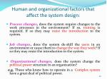 human and organizational factors that affect the system design