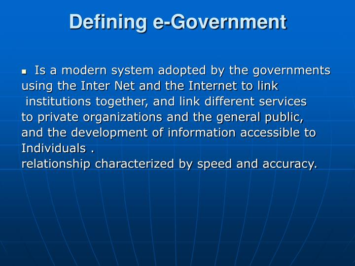 Defining e government