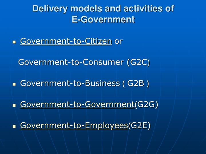Delivery models and activities of e government