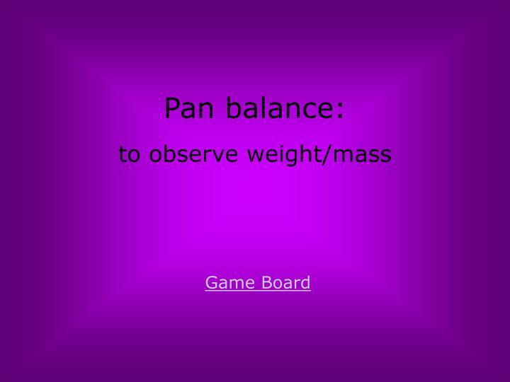 Pan balance: