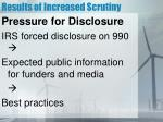 results of increased scrutiny5