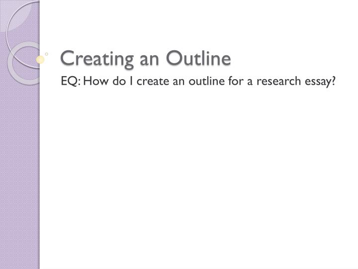 creating a research paper outline Example of outline for college research paper in apa format if you are not quite sure what format and structure to follow when creating a research paper outline, you should check out the example provided below.