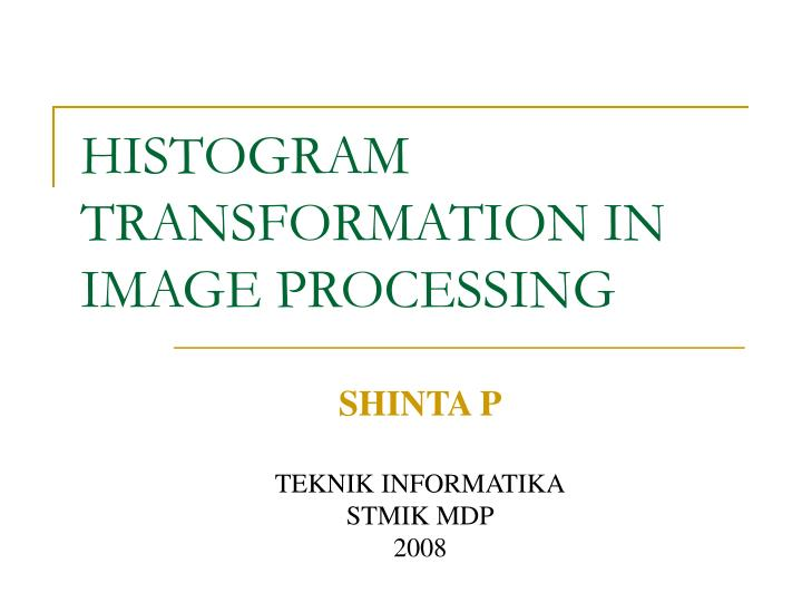 histogram transformation in image processing n.
