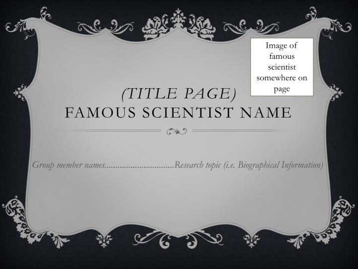 title page famous scientist name n.