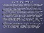 latent heat values