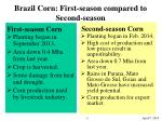 brazil corn first season compared to second season