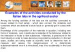 examples of the activities conducted by the italian labs in the agrifood sector