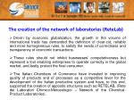 the creation of the network of laboratories retelab1