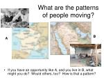 what are the patterns of people moving