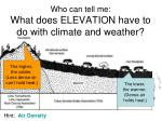 who can tell me what does elevation have to do with climate and weather