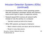 intrusion detection systems idss continued