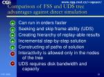 comparison of fss and uds tree advantages against direct simulation