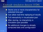 unsteady simulation datasets uds