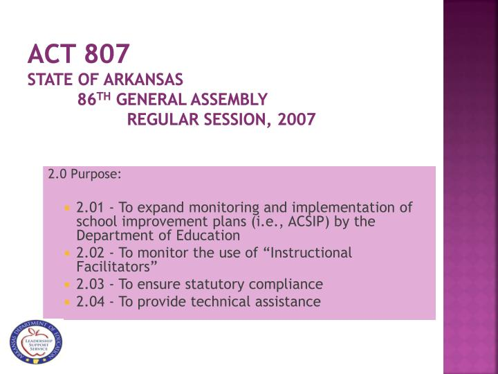 Act 807 state of arkansas 86 th general assembly regular session 2007