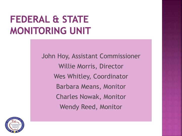 Federal state monitoring unit