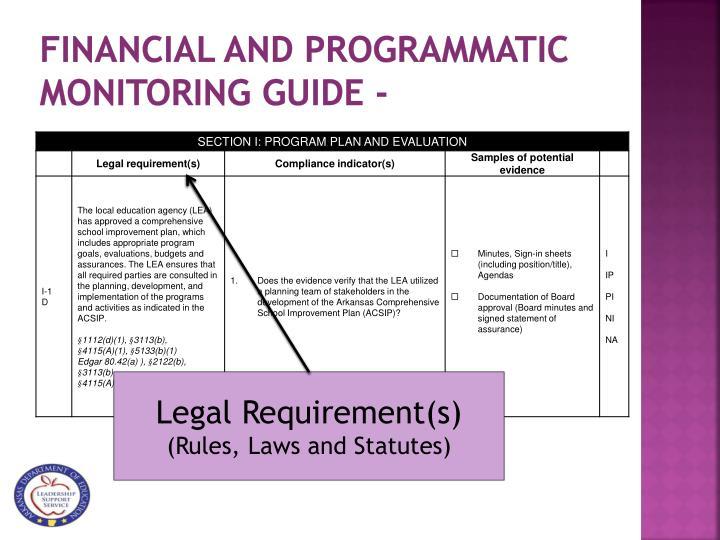 Financial and Programmatic Monitoring Guide -
