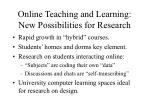 online teaching and learning new possibilities for research